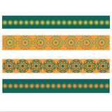 Vector Elements of folk decor with yellow and green flowers Royalty Free Stock Images