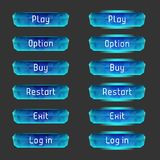 Vector elements for game design (GUI). Interface Set of vector buttons for the menu of the mobile games: arcade, shooter, space games or apps Stock Photography
