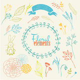 Vector elements. Handmade floral Royalty Free Stock Image