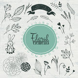 Vector elements. Handmade floral. Icons Royalty Free Stock Image