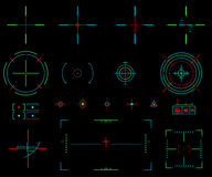Vector elements. Icons crosshairs. Neon sight. View target Royalty Free Stock Photos