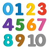 Numbers colorful set on white background. stock illustration