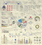 Vector Elements of Infographics on Crumpled Paper Royalty Free Stock Images