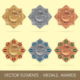 Vector elements - medals, awards Royalty Free Stock Photos