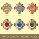 Vector elements - medals, awards Stock Photos