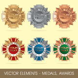 Vector elements - medals, awards Stock Images