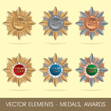 Vector elements - medals, awards Stock Photography