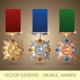 Vector elements - medals, awards Royalty Free Stock Photography