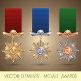 Vector elements - medals, awards Royalty Free Stock Photo
