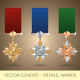 Vector elements - medals, awards Royalty Free Stock Images