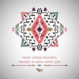 Vector elements on native ethnic style Royalty Free Stock Image