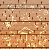 Vector elements playground, hand-drawn on brick Stock Images