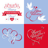 Vector elements on Valentine's Day. Lettering and calligraphic design on Valentine's Day Royalty Free Stock Photo