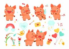 Set of cartoon piggy, flowers and elements. Vector elements for Valentine`s Day or wedding invitation. Isolated omn white background royalty free illustration