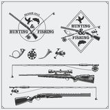 Vector elements for vintage hunting and fishing club. Labels, emblems and design elements. Guns, rods and hunting horns. Black and white illustration Stock Photography
