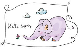 Vector  elephant and flower. Royalty Free Stock Photo