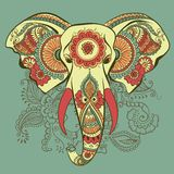 Vector Elephant on the Henna Indian Ornament Stock Images
