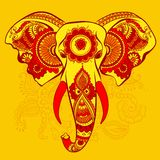 Vector Elephant on the Henna Indian Ornament Stock Photo