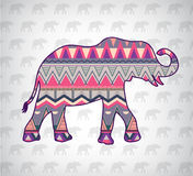 Vector elephant silhouette with abstract pattern Royalty Free Stock Images