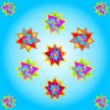 Vector elf multicolored sterren op blauwe achtergrond; vectorenillustratie royalty-vrije stock foto