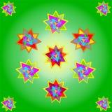 Vector elf multicolored sterren op lichtgroene achtergrond, met inbegrip van kleine sterren in hoeken; illustratie royalty-vrije stock afbeelding