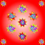 Vector elf multicolored sterren op rode achtergrond; illustratie royalty-vrije stock afbeelding