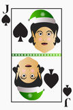 Vector elf simple easy Christmas Jack playing card suit spades on a white background editable detachable.  Stock Images