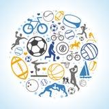 Vector em volta do conceito com ícones e sinais do esporte Imagens de Stock Royalty Free