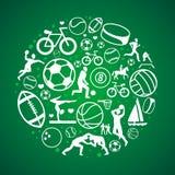 Vector em volta do conceito com ícones e sinais do esporte Fotografia de Stock Royalty Free