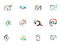 Vector email business symbols or at signs logo set. Linear minimalistic flat icon design collection Stock Photography