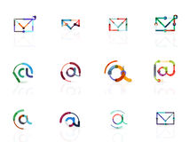 Vector email business symbols or at signs logo set. Linear minimalistic flat icon design collection Stock Image