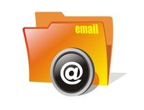 Vector email folder. White isolated orange email folder Stock Image
