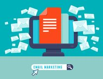 Vector email marketing concept. Flat trendy icon - newsletter and subscription Royalty Free Stock Images