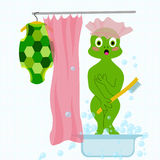 Vector embarrased and frightened turtle in bathroom took off his clothes and washing Stock Photo