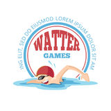 Vector emblem of cartoon Swimming man. Logo template isolate on white background. Design with place for your text Royalty Free Stock Photos