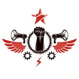 Vector emblem composed with muscular raised clenched fist surrou Royalty Free Stock Photos