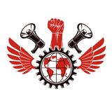 Vector emblem composed with revolutionary clenched fist holding. Earth surrounded by gear symbol, liberty wings and loudhailers. Propaganda as the means of Stock Images