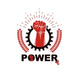 Vector emblem composed using strong muscular raised arm surrounded by industrial cog wheel. royalty free illustration