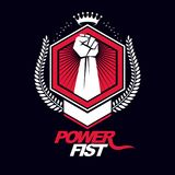 Vector emblem created using clenched fist of a strong man, laure Royalty Free Stock Photography