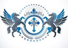 Vector emblem created in vintage heraldic design. Retro style la Stock Image