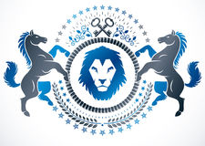 Vector emblem created in vintage heraldic design. Vector blazon Stock Image