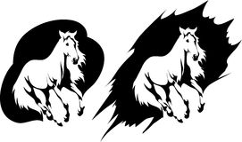 Vector emblem depicting galloping horse. Vector stylized running horse in black and white style Stock Photo