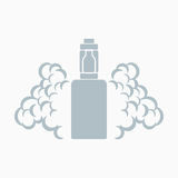 Vector emblem of the electronic cigarette. With steam Royalty Free Stock Photography