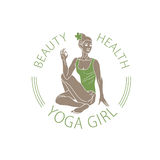Vector Emblem Girl in Yoga pose Stock Photography