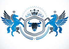 Vector emblem made in vintage heraldic design created with vecto Royalty Free Stock Images