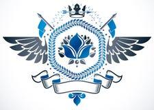 Vector emblem made in vintage heraldic design. Winged emblem cre Stock Images