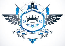Vector emblem made in vintage heraldic design. Winged vector bla Royalty Free Stock Photos
