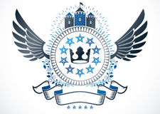 Vector emblem made in vintage heraldic design. Winged vector ins Stock Photos