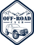 Vector emblem with 4x4 off-road car and mountains forest. Vector emblem with 4x4 vehicle off-road car and mountains forest royalty free illustration
