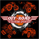 Vector emblem with off-road cars Stock Photos